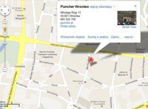 Puncher Wrocław - mapa dojazdu