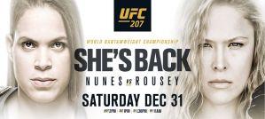 UFC 207 Nunes vs Rousey: Las Vegas, 31/12/2016