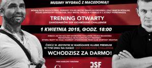 """Zaproszenie na trening otwarty przed galą DSF Kickboxing Challenge """"Polska vs Macedonia"""""""
